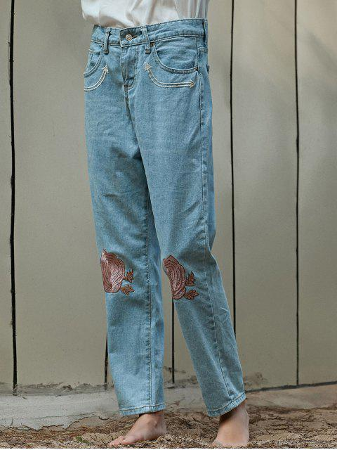 outfit Floral Embroidery Relaxed Fit Jeans - LIGHT BLUE XL Mobile