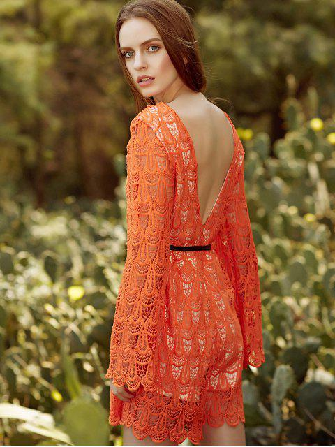 sale Backless Short Lace Dress With Flare Sleeves - DARKSALMON M Mobile