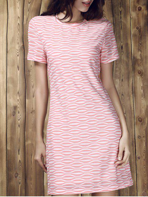 Stripe Short Sleeve A Line T-Shirt Dress - Multicolore S Mobile