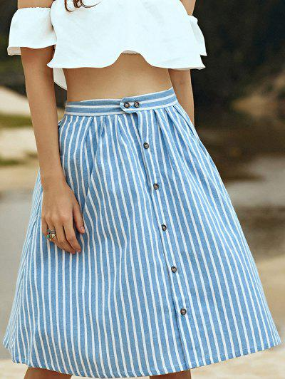 A-Line Striped Single-Breasted Skirt - Blue And White