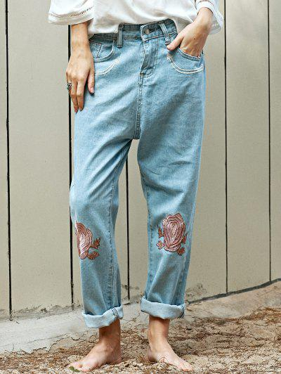 Floral Embroidery Relaxed Fit Jeans - Light Blue M