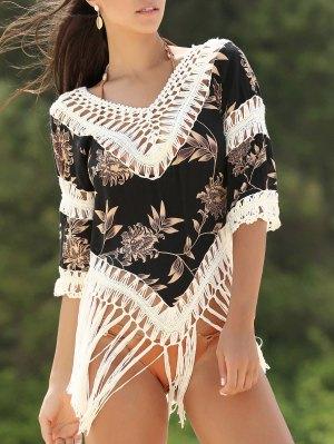 V-Neck Printed Crochet Blouse - White