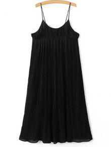 Pleated Empire Waist Strap Dress - Black