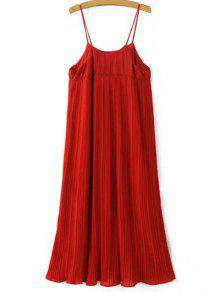 Pleated Empire Waist Strap Dress - Red
