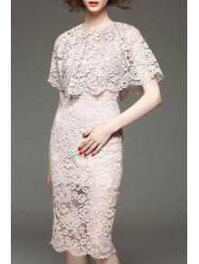 Bainha Lace Vestido Justo - Rosa Claro M