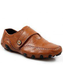 خياطة أنيقة وزر تصميم أحذية عادية للرجال - بنى 38