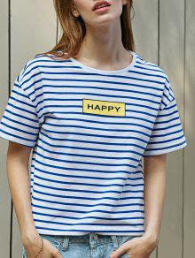 Buy Striped Letter Print T-Shirt - BLUE AND WHITE S
