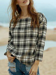 Round Neck Long Sleeve Plaid Top - S