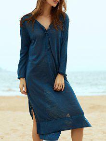 Side Slit Straight Dress - Blue L