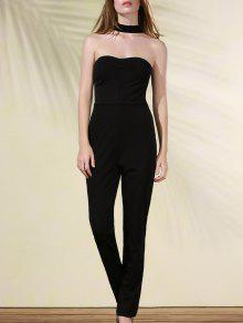 Cut Out Stand Neck Solid Color Jumpsuit - Black L