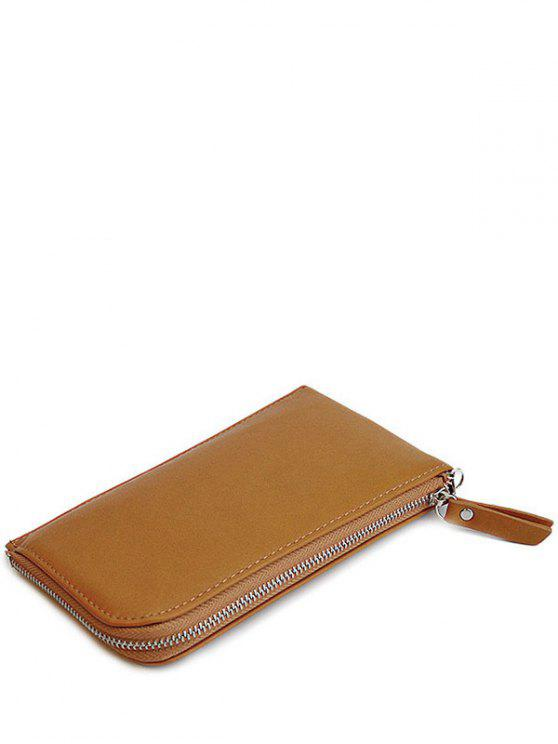outfits Zip Solid Color PU Leather Coin Purse - BROWN