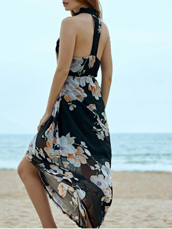 affordable Floral Chiffon Beach Maxi Dress - BLACK S