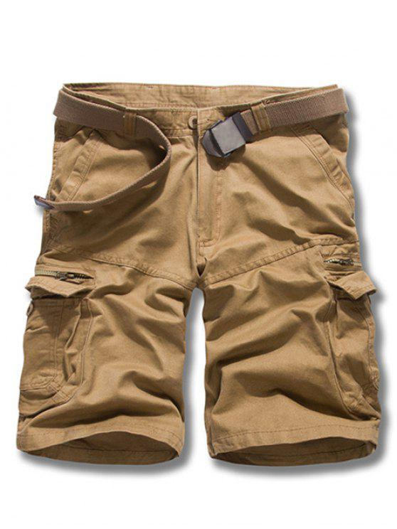 hot Loose Fit Solid Color Men's Cargo Shorts - EARTHY 29