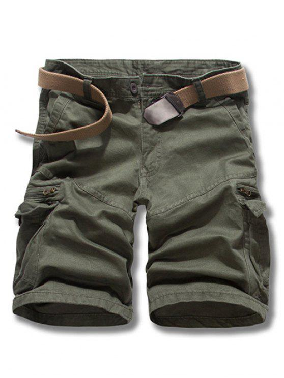 shop Loose Fit Solid Color Men's Cargo Shorts - ARMY GREEN 31