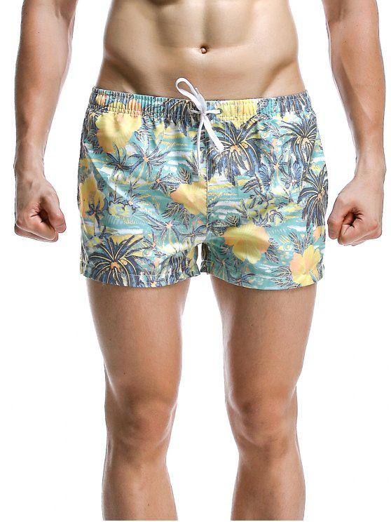 Moda Árvore de coco Impresso Boardshorts For Men - Ciano XL