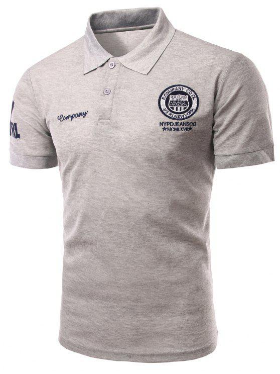 Mode Turn-down-Kragen-Stickerei gedruckt kurzen Ärmeln Polo-T-Shirt für Männer - Grau M