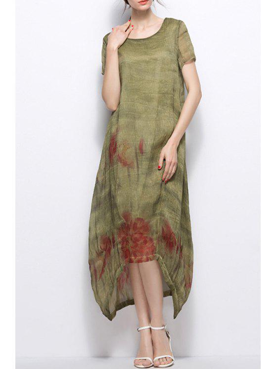 affordable Asymmetric Maxi Dress - PEA GREEN XL