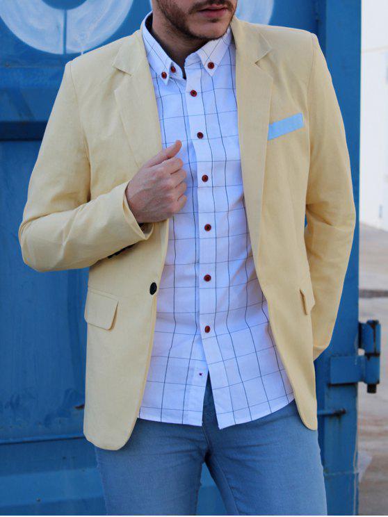 Ein Taste Einreiher Farbe Splicing-Revers langen Ärmeln Leinen Blended Blazer für Männer - Hellgelb 2XL