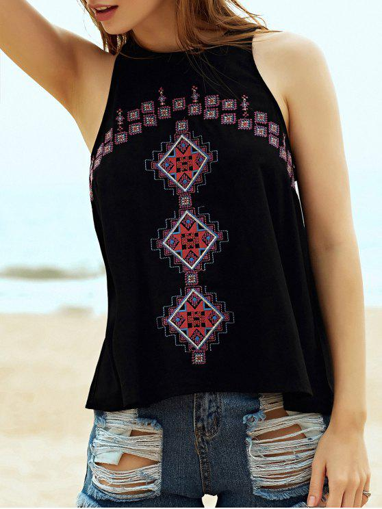 buy Ethnic Style Embroidery Round Neck Tank Top - BLACK M