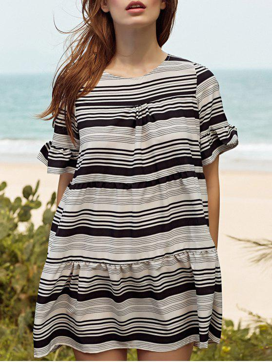 fashion Loose Striped Round Neck Butterfly Sleeve Dress - WHITE L