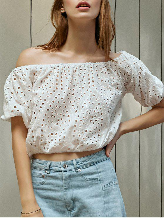 latest Off The Shoulder Cutout Embroidered Top - WHITE L