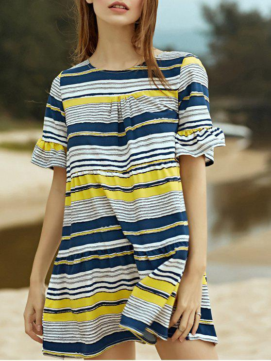 shops Loose Striped Round Neck Butterfly Sleeve Dress - YELLOW XL