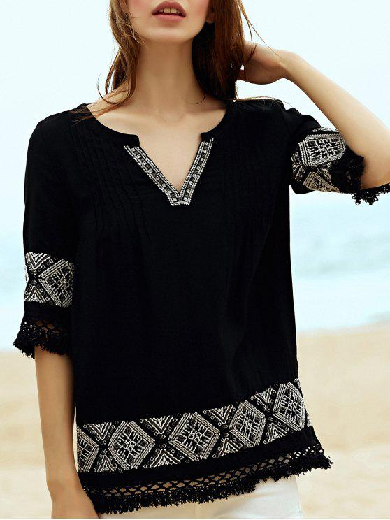 Bordado V Neck 3/4 Sleeve Blouse - Preto M