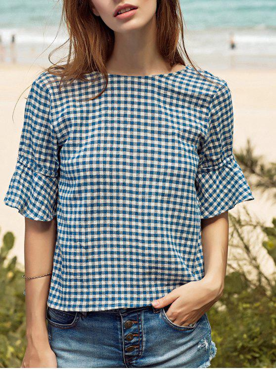 lady Ruffle Sleeve Low Back Gingham Top - BLUE L
