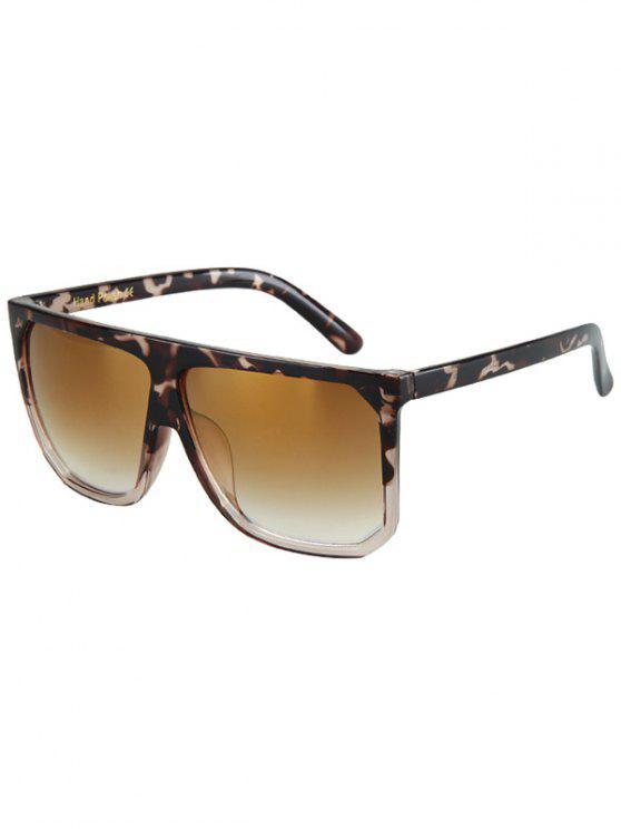 Patrón del leopardo del partido: Cuadrado gafas de sol - Marrón Oscuro