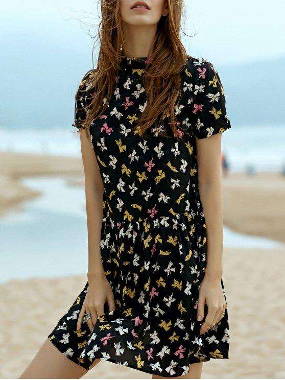 chic Fitting Printed Stand Neck Short Sleeve Dress - BLACK S