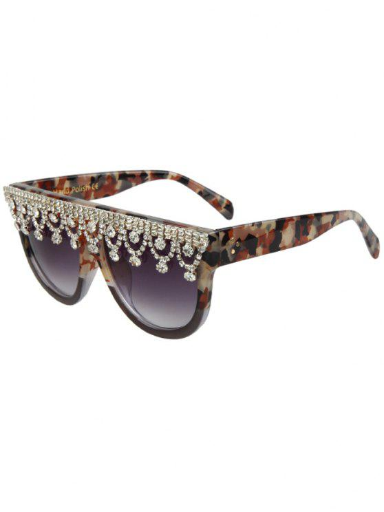 buy Rhinestone Fringed Camouflage Sunglasses - GRAY