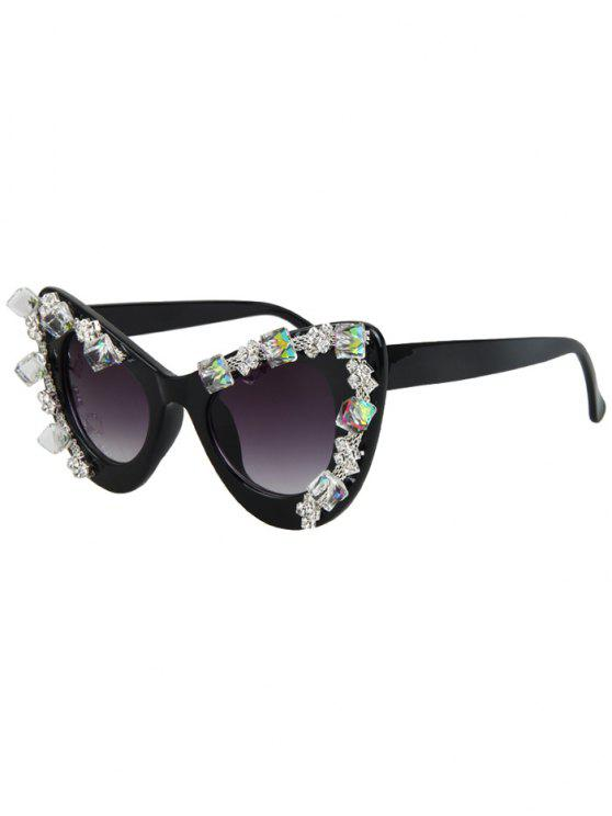 womens Quadrate Rhinestone Cat Eye Sunglasses - BLACK