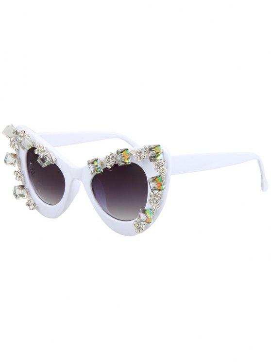 women Quadrate Rhinestone Cat Eye Sunglasses - WHITE
