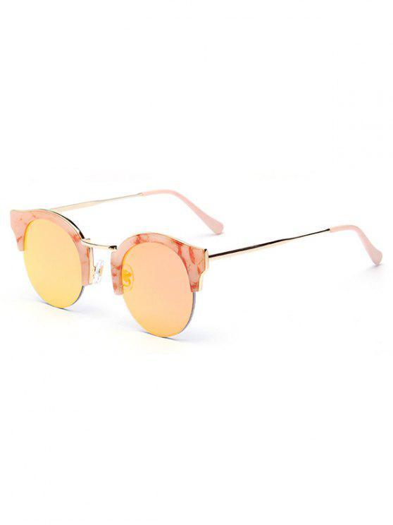 Stone Pattern Semi-Rimless Frame Sunglasses - Blancuzco