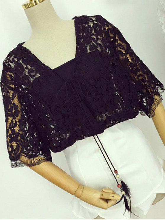 Full Lace V Neck Half Sleeve Blouse - BLACK ONE SIZE(FIT SIZE XS TO M)