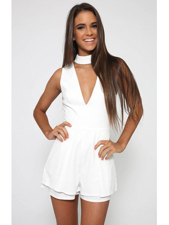86d329bd9d20 33% OFF  2019 Deep V Neck Fitted Romper In WHITE