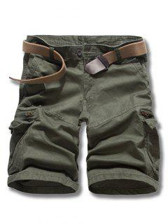 Loose Fit Solid Color Men's Cargo Shorts - Army Green 31