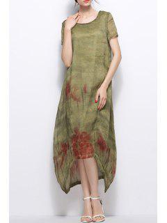 Asymmetric Maxi Dress - Pea Green S