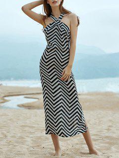 Wellenförmige Striped Halter ärmelloses Kleid - Schwarz S