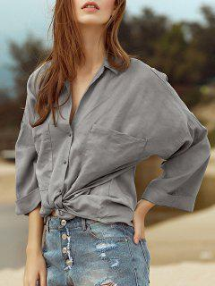 Poches Loose Collar Manches 3/4 Chemise Turn-Down - Gris Xs