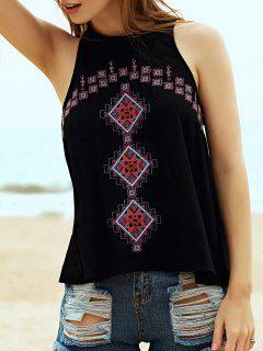 Ethnic Style Embroidery Round Neck Tank Top - Black L
