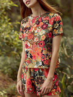 Cut Out Flower Print Round Neck Short Sleeve Romper - Yellow L
