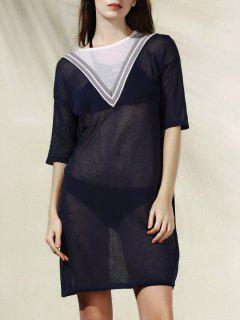 Robe En Tricot Avec Rayures En Forme De V  - Bleu Cadette