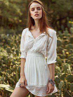 Lace Spliced Scoop Neck 3/4 Sleeve Waisted White Dress - White L