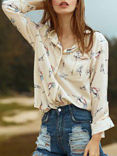 Fitting Bird Print Stand Neck Long Sleeve Shirt - Beige S