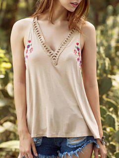 Embroidery V Neck Hollow Out Tank Top - Apricot M