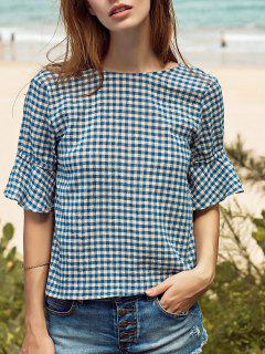 Ruffle Sleeve Low Back Gingham Top - Blue L