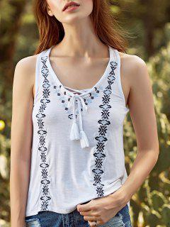 Embroidery V Neck Lace Up Tank Top - White L