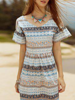 Cut Out Printed V Neck Short Sleeve Dress - Gray L