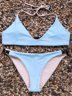 Halter Neck Contrast Bikini Set - Ice Blue L